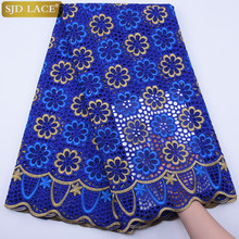 SJD LACE Royal Blue Swiss Voile Lace High Quality Nigeria African Cotton Lace Fabric Embroidery Punch Cotton For Daily Sew A1797