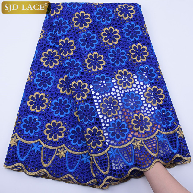 $ US $41.15 SJD LACE Royal Blue Swiss Voile Lace High Quality Nigeria African Cotton Lace Fabric Embroidery Punch Cotton For Daily Sew A1797