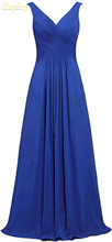 New V-neck Pleats Bridesmaid Gown Backless Lace-up A-line Wedding Guest Dress Sleeveless Chiffon Long Party Women