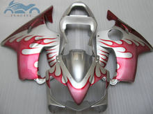 Injection fairing kit fit for Honda CBR 600F4i 2001 2002 2003 CBR600F4i 01 02 03 red flames in silver fairing kits bodywork LD38