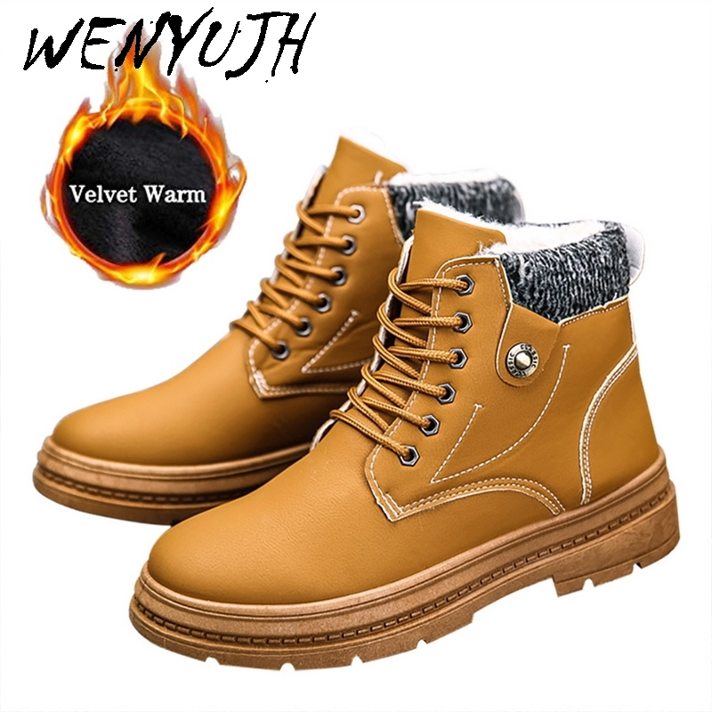 WENYUJH New Warm Snow Boots Men Plus Velvet Men's Shoes Outdoor Cold Boots Waterproof Men's Boots High-gang Cotton Boots