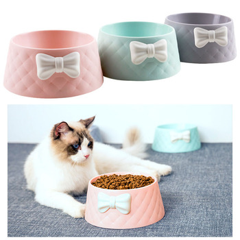 3 colors Cute Bow Plastic Pet Bowl For Dog Cat Pets Food Bowls Puppy Water Drinking Feeding