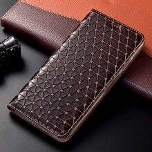Grid Natural Genuine Leather Magnet Flip Case For Samsung Galaxy A12 A32 A42 A52 A72 A02S A21S 4G 5G Cover