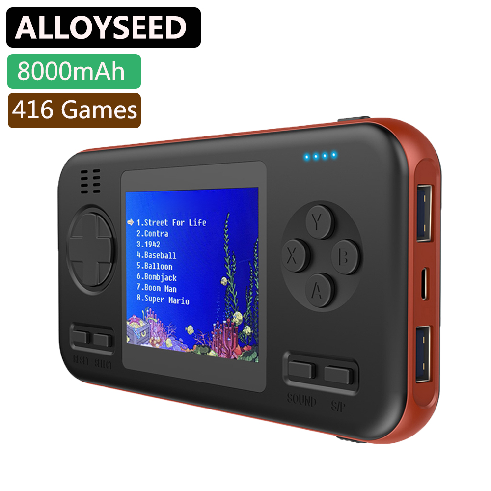 Handheld Retro Game Console with 8000mAh Power Bank Portable Mini Handheld Player Buil-in 416 Classic Games 2 8 Inch Player