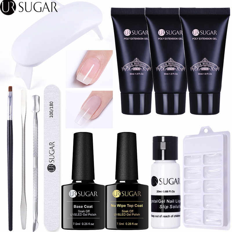 Ur Suiker 30 Ml Quick Building Poly Extension Gel Kristal Uv Gebouw Gel Vernis Nail Tips Vinger Extension Nail Art uv Gel Set