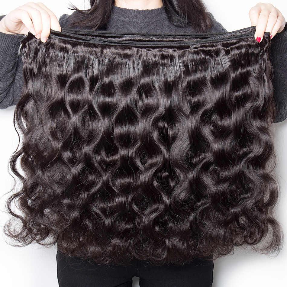 Maagd Lichaam Wave Menselijk Haar Bundels Met Sluiting 6X6 Gratis Deel Pre Geplukt Peruaanse Bundels Met Sluiting Niet -Remy Haarverlenging