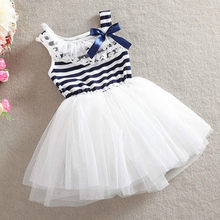 Hot Edition 2018 Little Girl Lovely Summer Lace Yarn Upper Body Striped Bow Princess Sweet Dress Party Children's Fresh Clothes(China)