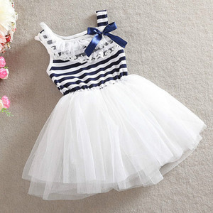 Vestido de princesa para niña pequeña, lazo a rayas en la parte superior del cuerpo, para fiesta, ropa fresca para niño 2018