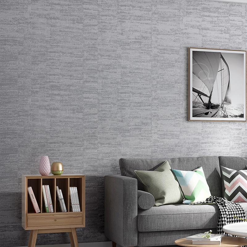 Modern Plain Metal Striped Textured Wall Paper Gray Blue Khaki Solid Color Wallpaper Bedroom Living Room Home Decor