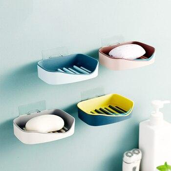 Caja de jabón de PP montado en la pared para el jabón de ducha eficiente escurridor soporte de jabón de doble capa Herramienta de sujeción de jabón accesorios de herramientas de baño