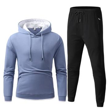 Men Set Casual Hooded Jackets Fashion Male Set Warm Tracksuit Sportswear Hoodies+Pants Sets Male Coat Jacket Men Long Sweatshirt