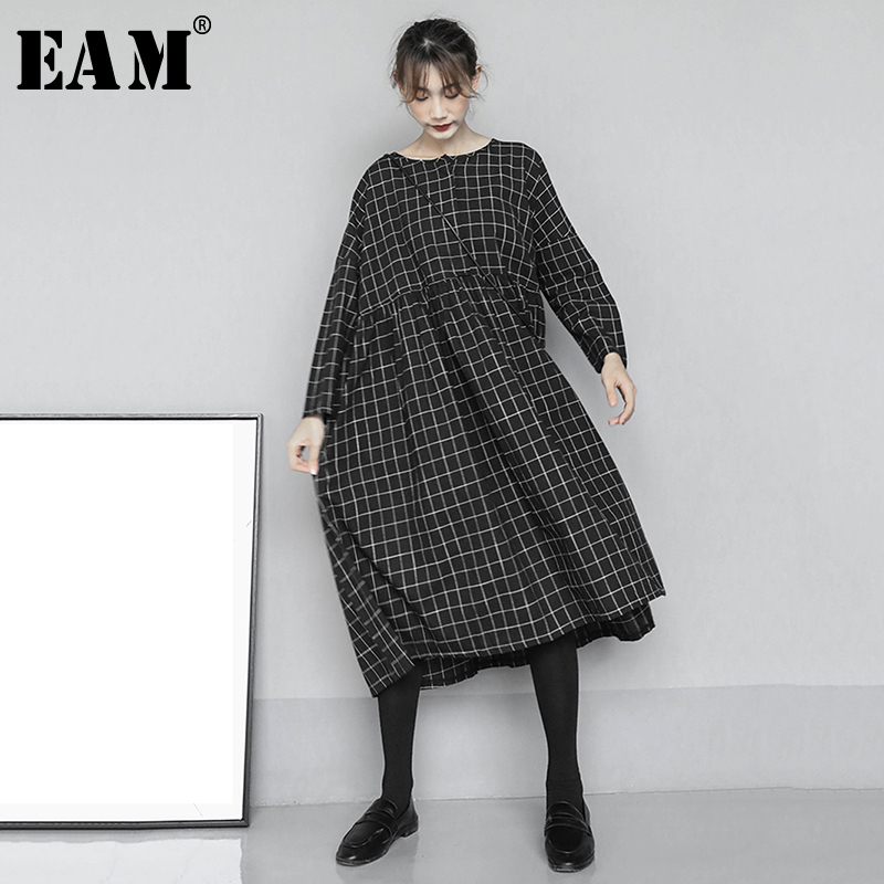 [EAM] Women Black Plaid Split Joint Big Size Dress New Round Neck Long Sleeve Loose Fit Fashion Tide Spring Autumn 2020 1N591