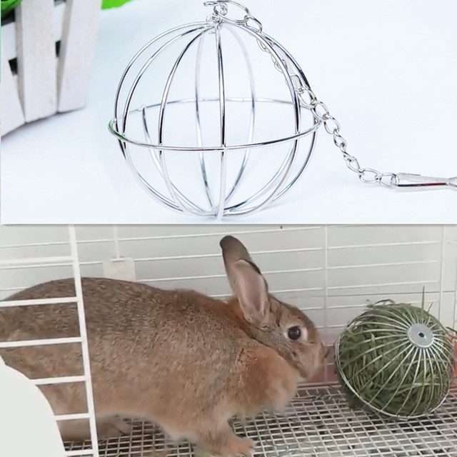 Stainless Steel Pet Rabbits Toys Round Sphere Feed Dispense  2