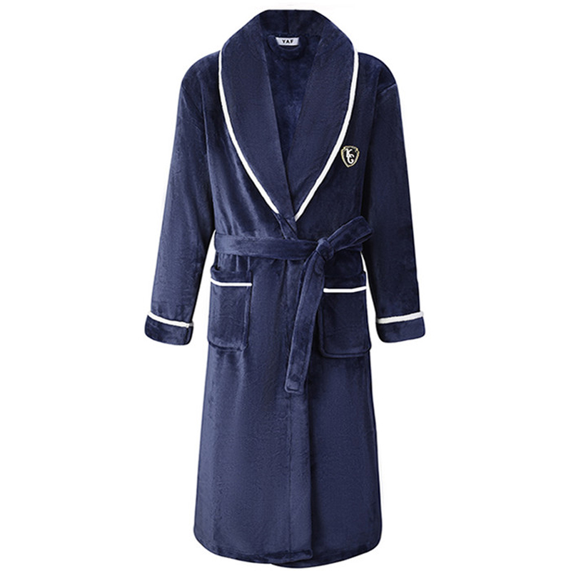 Autumn/Winter Men Nightgown Kimono Bathrobe Gown Coral Fleece Negligee V-neck Intimate Lingerie Solid Colour Sleepwear