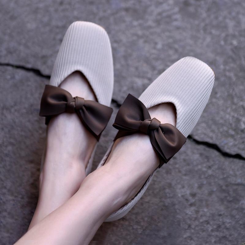Artmu Square Toe Women's Shoes Butterfly-knot Mary Jane Shoes Soft Bottom Grandma Shoes Fashion Shallow Mouth Handmade New Style