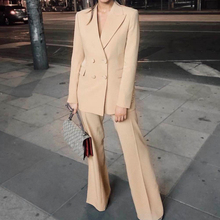 Yesexy 2020 Autumn Solid Color Double Breasted Women Blazer Suit Notched Neck Lo