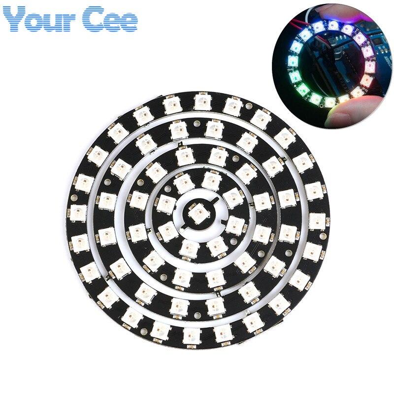 Tira de luces Led RGB a todo Color, 1/8/12/16/24 Bits, WS2812 WS2812B 5050, Módulo de placa redonda, DC4V-7V