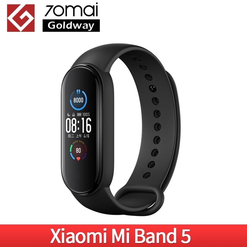 Смарт-браслет Xiaomi Mi Band 5, фитнес трекер с сенсорным экраном 5, монитор сердечного ритма, подходит для плавания и спорта