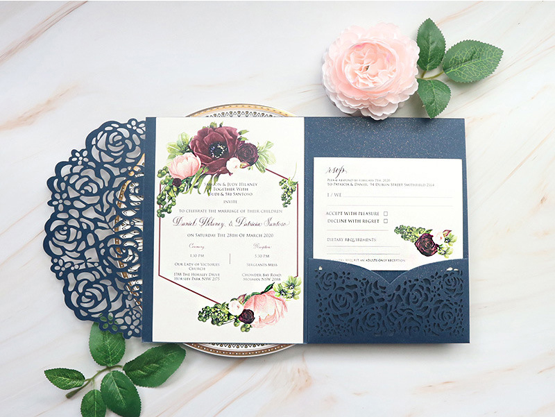 (10 pieces/lot) Laser Cut Rose Navy Blue Wedding Invitation Tri-Fold Customized Birthday Greeting Card With Reply Cards IC132
