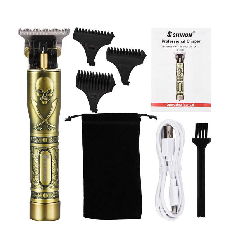 Cortador de pelo profesional para hombres, cortadora de pelo eléctrica para Barba, Barbero, cortadora de pelo con filo en T, máquina para cortar el pelo de 0mm recargable
