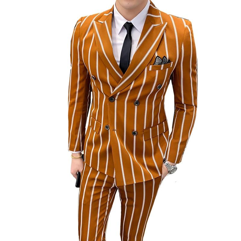 Suit 2 Piece Set (coat + Pants) British Banquet Boutique High-grade Slim Striped Suit Men's Fashion Double-breasted Party Suit