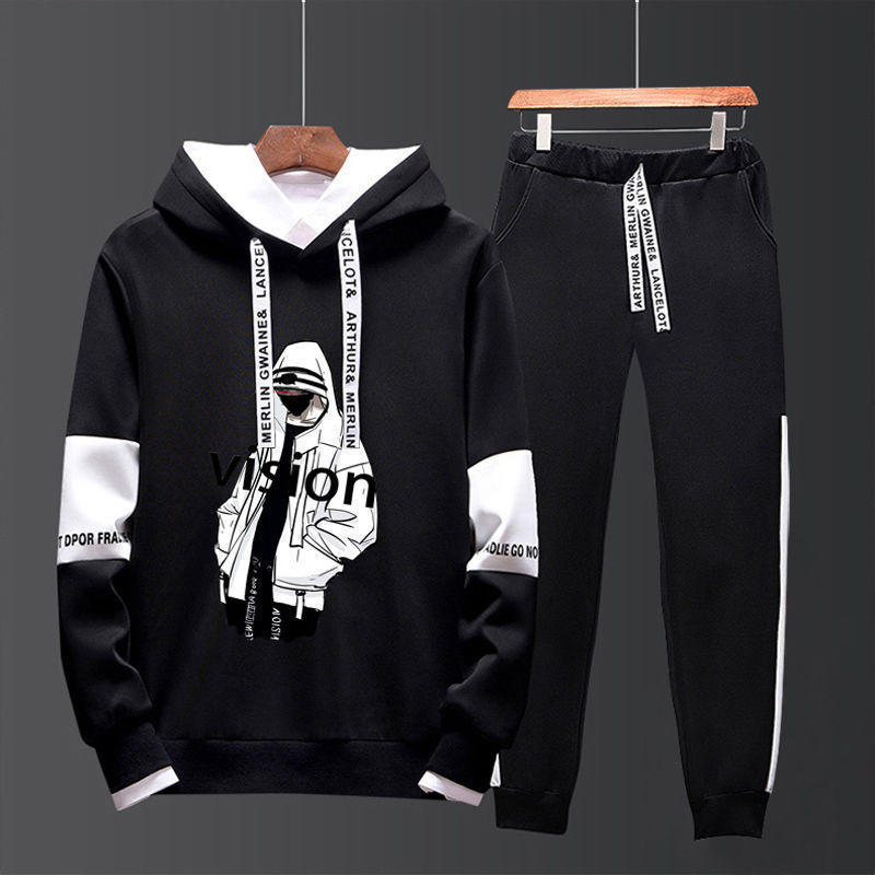 Men Spring New Style Hoodie Suit Korean-style Fashion And Personality Trend Casual Sports Hooded Pullover Two-Piece Set Men's