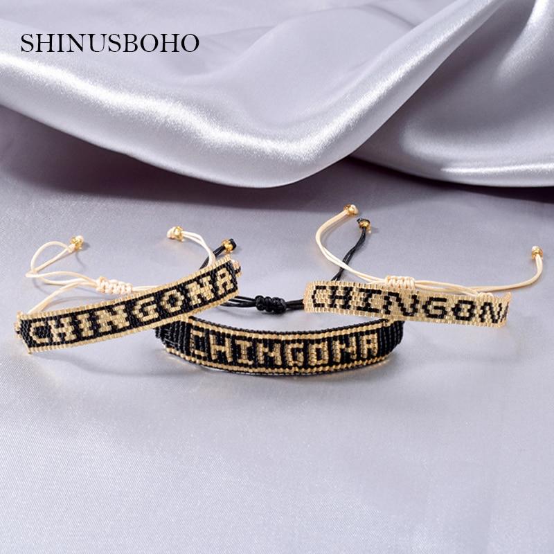 3 Styles CHINGONA-Power Letter MIYUKI Bracelet Bangles 2020 Mexican Men Bracelets for girls Jewelry Handmade Loom Summer