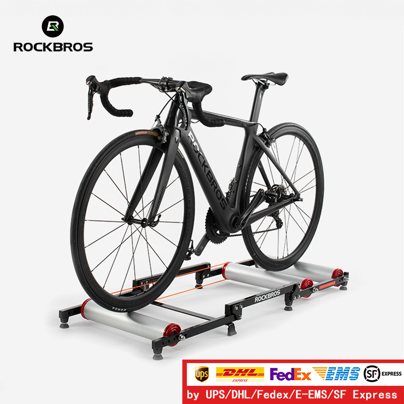 ROCKBROS Bicycle Rollers Trainer MTB Road Bike Indoor Exercise Stand Aluminum Alloy Silent Home Cycling Training Rack Folding