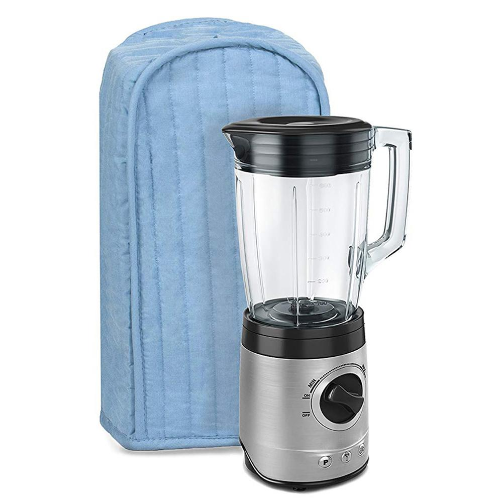 Hot Polyester Cotton Quilted Blender Appliance Cover Dust And Fingerprint Protection Machine Washable Light Blue And Black