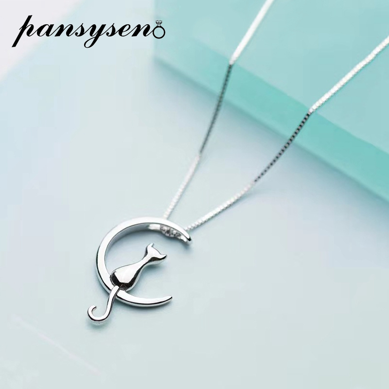 PANSYSEN Pure 925 Sterling Silver Cat Charm Pendant Necklaces for Women New Fashion Jewely Small Chokers Necklaces Fine Jewelry