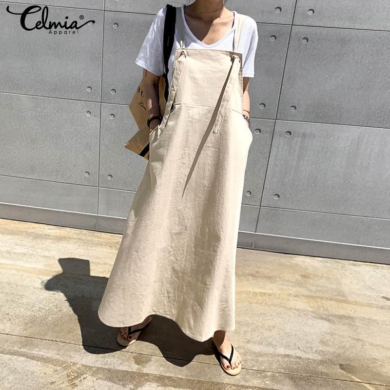 Celmia Women Vintage Linen Dress Summer Fashion Suspender Sundress Sarafan Loose Overall Dresses Female Casual Strappy Vestidos
