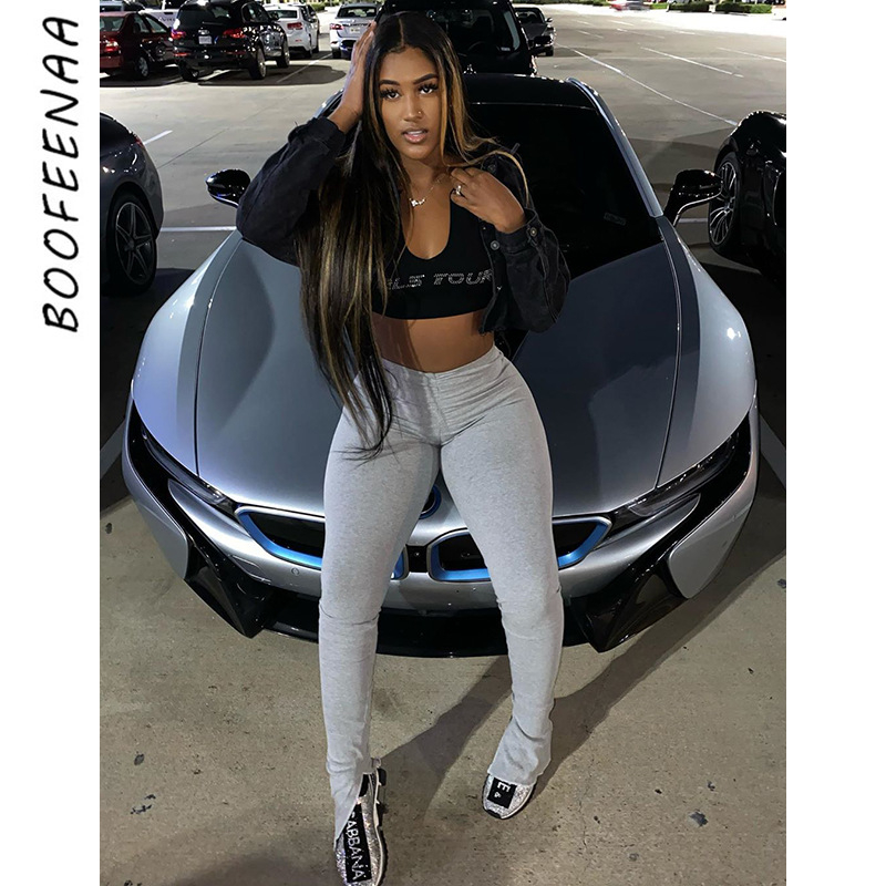 BOOFEENAA High Wasted Slit Stacked Leggings Grey Sweatpants Women Sexy Skinny Pencil Pants Summer Casual Trousers C85-AZ65