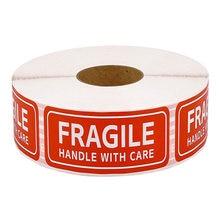 250 etiquetas frágeis adesivos 1 rolo 2.5cm * 7cm frágil ou dobrar o punho com cuidado aviso embalagem obrigado etiquetas de envio adesivos