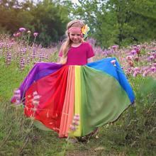Robe de princesse Rose pour filles, en maille de coton, Patchwork de couleur arc-en-ciel, longueur cheville, tenue de soirée, été