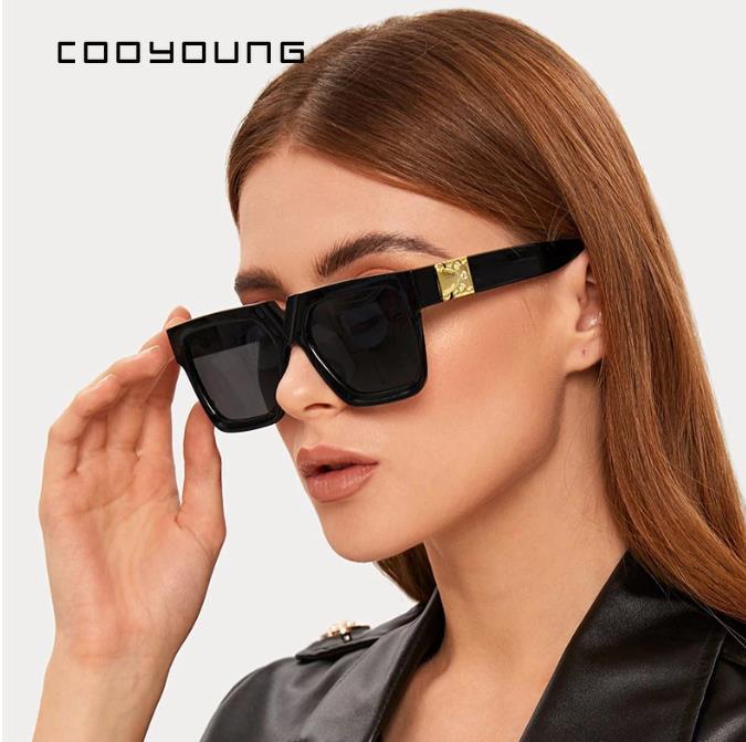 COOYOUNG للجنسين موضة السيدات ساحة النظارات الشمسية النساء حملق ظلال Vintage العلامة التجارية مصمم المتضخم نظارات شمسية UV400