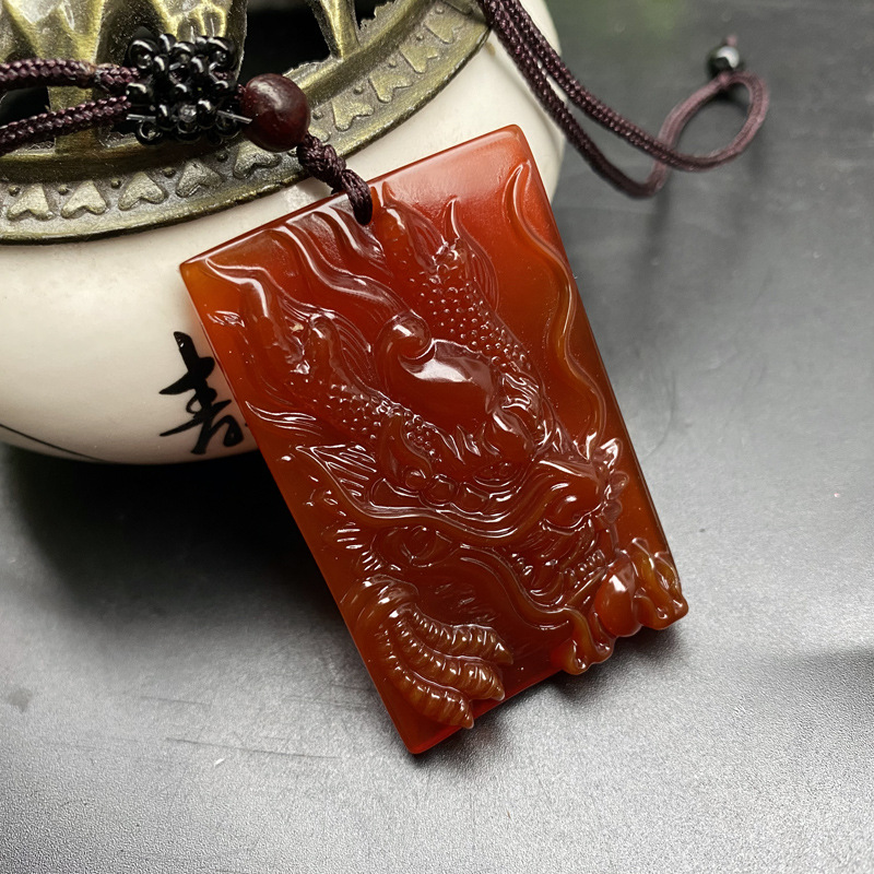 Natural Red Agate Jade Carving Dragon Head Pendant With Pearl Lucky Amulet Necklace Men Women Pendant Chinese jade charm Jewelry