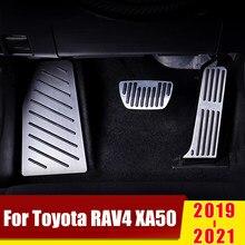 Pedal de gás de alumínio do acelerador pedais de freio não-perfuração capa para os pés almofadas para toyota rav4 rav 4 xa50 2019 2020 acessórios