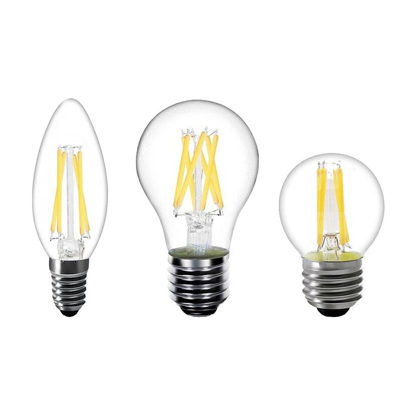 Ретро светодиодный лампы 2W 4W 6W 8W без затемнения E14 E27 Базовый теплый белый накаливания AC 220V ST64 A60 G45 C35 C35L лампочки Эдисона