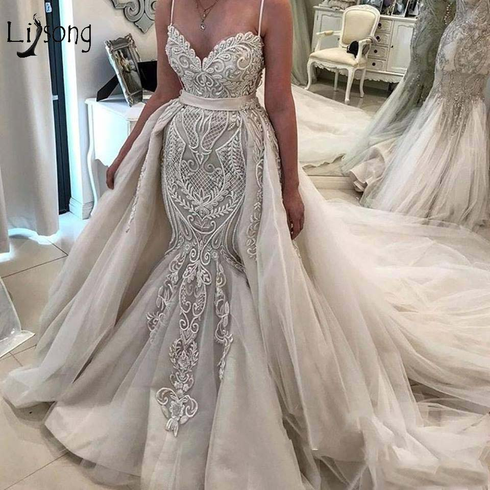 Vintage Lace Mermaid Wedding Dresses With Detachable Train 2020 Bridal Gowns Lace Up Custom Made Robe De Mariee