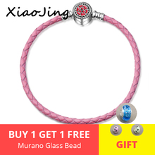 100% 925 Sterling Silver flower with red enamel Genuine pink Leather Rope Chain Charm Fit Bracelet For Women girl Fine Jewelry