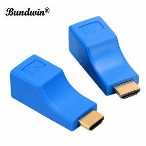 Image 2 - 1 زوج من موسّع HDMI HDMI بجودة 4K HDMI 1.4 30 متر من Bundwin مع محول شبكة إيثرنت RJ45 على مدى Cat 5e/6 لـ HDTV HDPC
