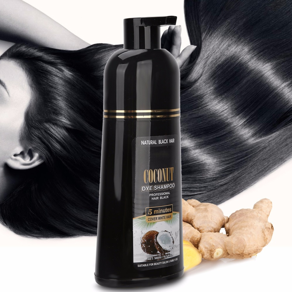 500ml Coconut Ginger Shampoo Fast Black Hair Dye Coloring Nourishing Shampoo Hair Care Tool