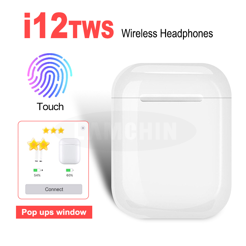 i12 TWS Mini Sports Bluetooth 5 0 Wireless Earphones 3D Surround Sound Charging Case for iPhone Android Touch Control Earbuds in Phone Earphones Headphones from Consumer Electronics