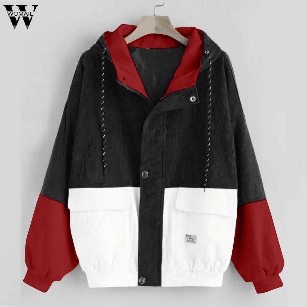 Womail Women   jacket   Coat Oversize   Basic     Jacket   with Pockets Thin Windbreaker Outwear Hooded Bomber Female Baseball Coat J722