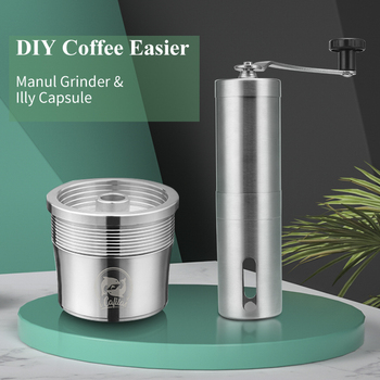 Refillable Metal Filter For illy Coffee Machine Cafe Capsules Cup Stainless Steel Reusable Coffee Baskets Pods Manual Grinder 1