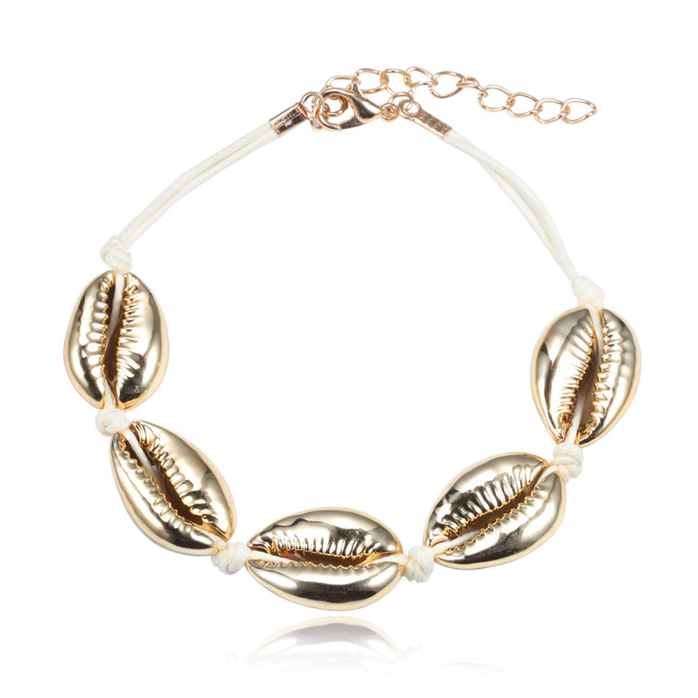 Fashion Handmade Seashell Bracelets Natural Conch Shell Women Jewelry Metal Buckle Extension Chain Beaded Hand Knitted Bracelet