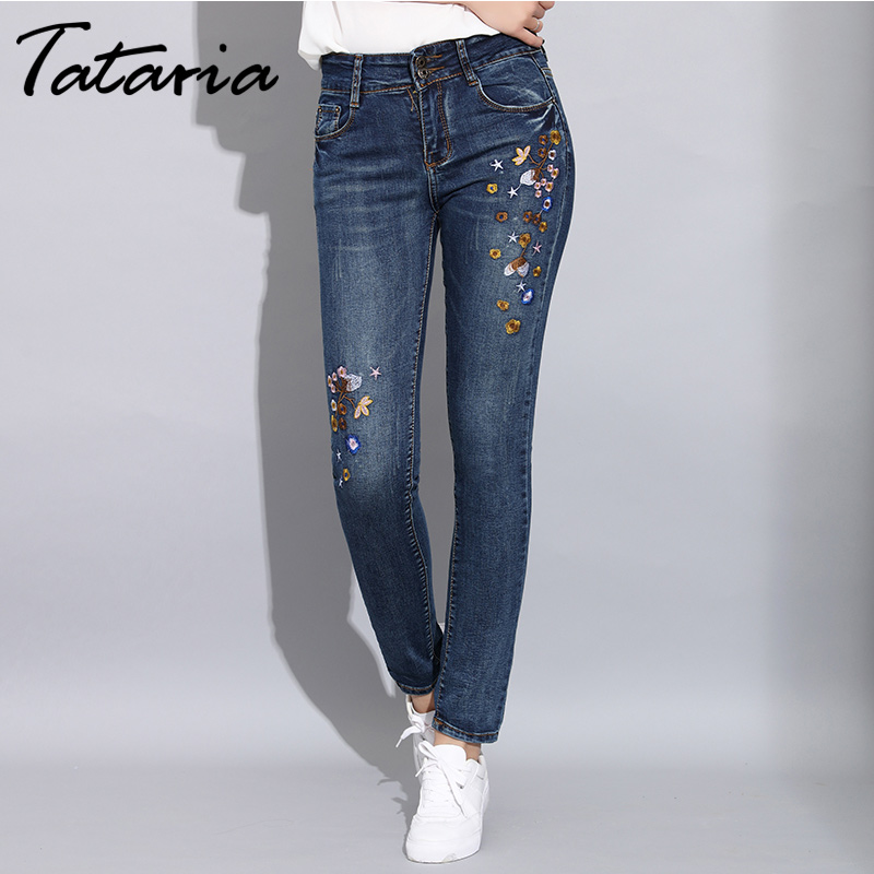 Denim Women's Skinny Jeans with Embroidery Stretch Female Jeans Pants Trousers Women Slim Embroidered Jeans for Woman 2020