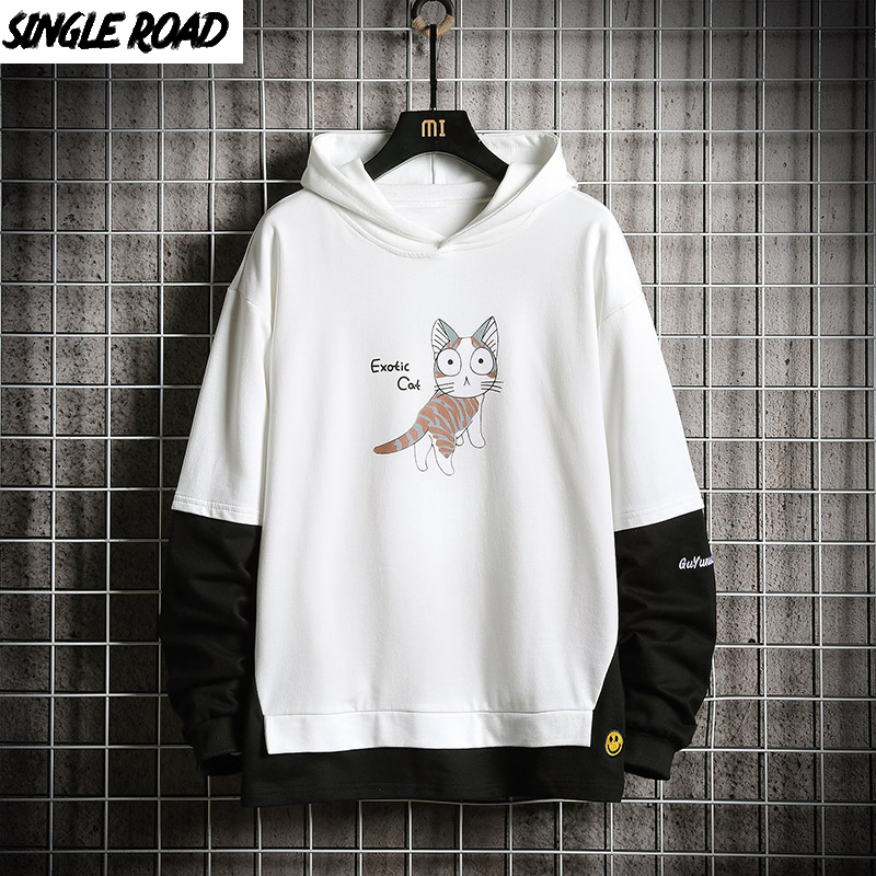 SingleRoad Men's Hoodies 2019 Cat Hip Hop Sweatshirts Harajuku Japanese Streetwear Patchwork White Hoodie Men Sweatshirt Male