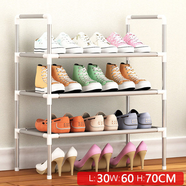 Simple Multi Layer Shoe Rack Nonwovens Easy Assemble Storage Shelf Metal Standing  DIY Shoes Cabinet Living Room Furniture 2