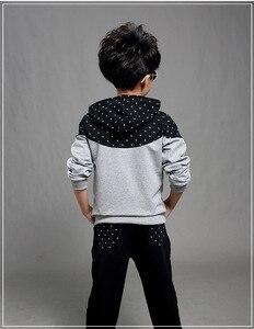 Image 5 - 男の子春秋ジョギングジャージ男の赤ちゃんフード付きジャケット + パンツスポーツスーツ子供服セット 120 〜 160